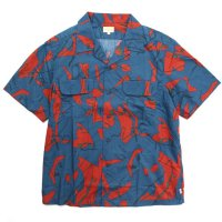 GO WEST ゴーウエスト TYPEWRITER CLOTH OUT OF BORDER SHIRTS (ブルー)(開襟シャツ)