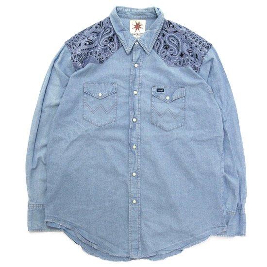 Nasngwam ナスングワム 別注 BANDANA WESTERN SHIRT (シャンブレー B)(バンダナシャツ)