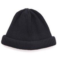 RoToTo ロトト|COTTON ROLL UP BEANIE (ブラック)(ニット帽 コットンニット)