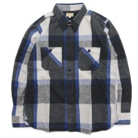 GO WEST ゴーウエスト|SHAGGY BIG CHECK BASIC WORK SHIRTS (ブルー)(ワークシャツ)