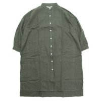 A HOPE HEMP アホープヘンプ|レディース Hemp Flannel Back Tail Shirt OP (オリーブ)(ワンピース)