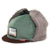 KM4K カモシカ|CAP 6 (グリーンブラック)(耳あて付きキャップ)