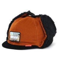 KM4K カモシカ|CAP 6 (オレンジブラック)(耳あて付きキャップ)