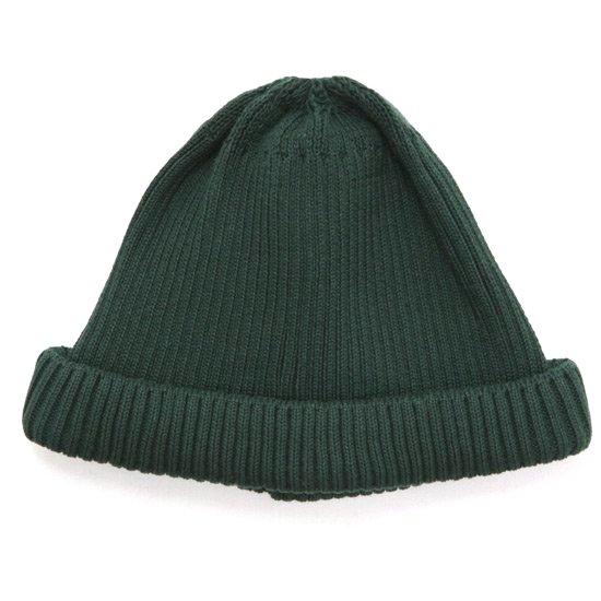 RoToTo ロトト|COTTON ROLL UP BEANIE (ダークグリーン)(ニット帽 コットンニット)