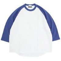 Nasngwam ナスングワム|× SPINNER BAIT BASEBALL TEE (ホワイトブルー)(ミニ裏毛 ベースボールTEE)