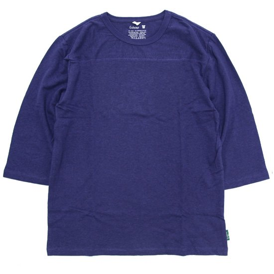 GO HEMP ゴーヘンプ FOOTBALL TEE (ブルーベリーブルー)(フットボール 七分袖 TEE)