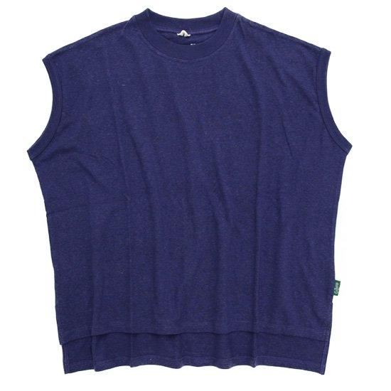 GO HEMP ゴーヘンプ|レディース HONEY SLEEVE-LES TEE (ブルーベリーブルー)(Tシャツ)