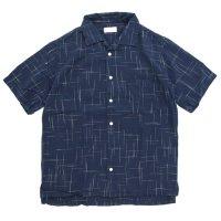 SPINNER BAIT スピナーベイト|レーヨンかすり 半袖 昭和シャツ (ネイビー)(半袖シャツ)