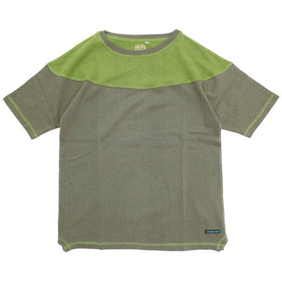 A HOPE HEMP アホープヘンプ Unique Cutting S/S Tee (オリーブ)(ヘンプコットン Tシャツ)