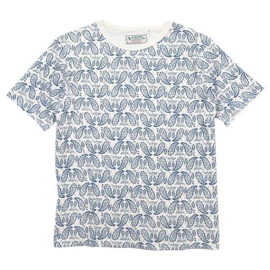 A HOPE HEMP アホープヘンプ|Paisley S/S Tee (ネイビー)(ヘンプコットン Tシャツ)