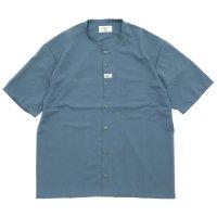 remilla レミーラ|コルトネックシャツ (ブルーグレイ)(ほぼノーカラーシャツ)