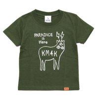 KM4K カモシカ|KIDS LOGO T's (オリーブ)(キッズTシャツ)(カモシカ ロゴTEE)
