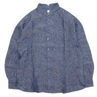 HiHiHi ひひひ|ゴデシャツ (リネンシャンブレー)(スタンドカラーシャツ)