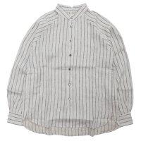 HiHiHi ひひひ|ゴデシャツ (生成りストライプ)(スタンドカラーシャツ)