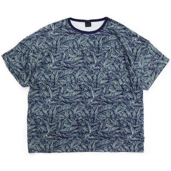 GO HEMP ゴーヘンプ HEMP PILE WIDE TEE (ブルー)(パイル 総柄ワイドTシャツ)