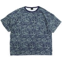 GO HEMP ゴーヘンプ|HEMP PILE WIDE TEE (ブルー)(パイル 総柄ワイドTシャツ)