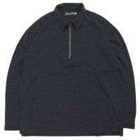Nasngwam ナスングワム|RIZE ZIP POLO (ブラック)(長袖ポロシャツ)
