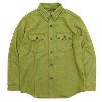 【GREEN CLOTHING グリーンクロージング】WOOL FLANNEL SHIRTS (黄緑)(キミドリ)(ウールフランネルシャツ)