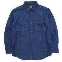 【GREEN CLOTHING グリーンクロージング】WOOL FLANNEL SHIRTS (ブルー)(ウールフランネルシャツ)