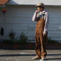 GO HEMP ゴーヘンプ|9W CORDUROY TUBE VENDOR ALL PANTS (ハニージンジャー)(オーバーオール)