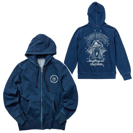 【GREEN CLOTHING グリーンクロージング】藍染 ZIPHOODY #SHEEP (マサ田畑)(スウェット)(ジップフード)(インディゴ)