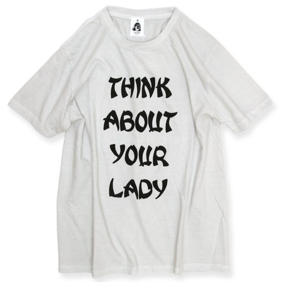 TACOMA FUJI RECORDS THINK ABOUT YOUR LADY S/S TEE (ICE GRAY)(タコマフジレコード)