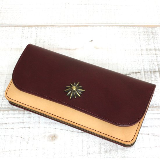 KUBIKI LEATHER LONG WALLET (BURGUNDY)