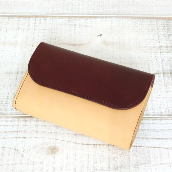 KUBIKI LEATHER MIDDLE WALLET (BURGUNDY)
