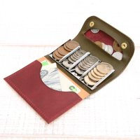 KUBIKI LEATHER COIN CATCHER WALLET (BURGUNDY)