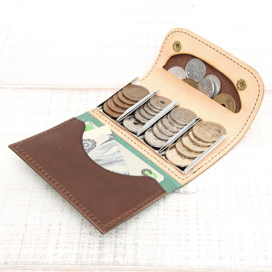 KUBIKI LEATHER COIN CATCHER WALLET (BROWN)