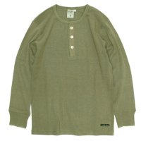 A HOPE HEMP L/S Henley Neck Rib Tee (Rat Sage)