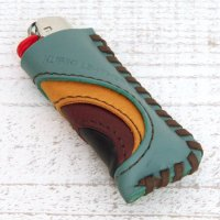 KUBIKI LEATHER LIGHTER CASE (TURQUOISE)