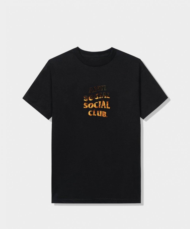 Anti Social Social Club ASSCアンチソーシャルソーシャルクラブ<br>A Fire Inside Black Tee - Flame/Tシャツ
