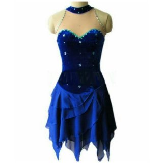 【オーダーメイド】フィギュアスケート衣装・コスチューム ブルー ラインストーン アイスダンス ドレープスカート アイスフェアリー