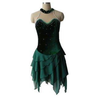 【オーダーメイド】フィギュアスケート衣装・コスチューム グリーン ラインストーン アイスダンス アイスフェアリー