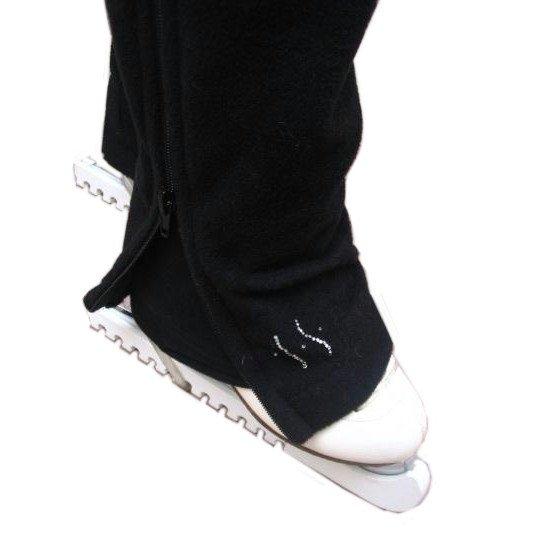 フィギュアスケート サイドジッパー フリースパンツ|ブラック【LAスケート】