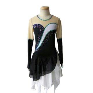 【オーダーメイド】フィギュアスケート衣装・コスチューム ブラック&ホワイト ラインストーン アイスダンス ハンカチーフスカート アイスフェアリー