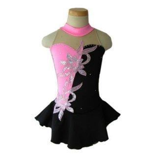 フィギュアスケート衣装・コスチューム ピンク&ブラック ラインストーン フローラル アイスフェアリー【オーダーメイド】