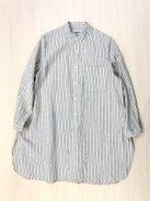 YAECA WRITE ボタンシャツ-スタンドカラー/ロング-(ブラウンストライプ)