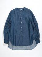 Scye デニム カラーレスシャツ(インディゴ)【ウィメンズ】