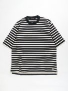 Scye BASICS ストライプコットン Tシャツ(ブラック)【メンズ】
