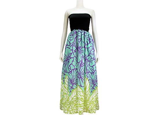 チューブトップドレス ロングタイプ ワンピース Mサイズ 水色 プルメリア・ハイビスカス柄 61007-2534AQ