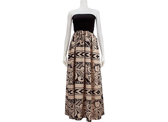 チューブトップドレス ロングタイプ ワンピース Mサイズ ベージュ プルメリア・カヒコ・ボーダー柄 61007-2543BG