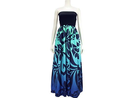チューブトップドレス ロングタイプ ワンピース Mサイズ ティアレ・リーフ柄 61007-2544BLAQ