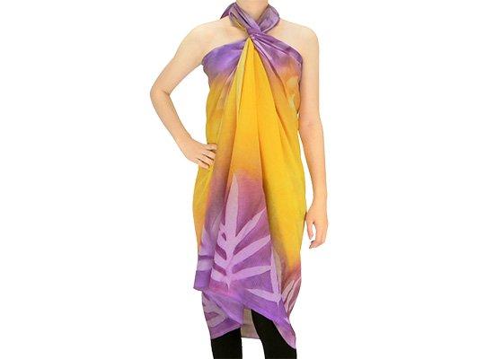 【ボゾ】パレオ 黄色・紫系 ラウアエ・リーフ柄 bozo_pareo_0030 【メール便可】