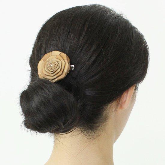 ラウハラローズ バレッタ Sサイズ lauhala-roseS-B1