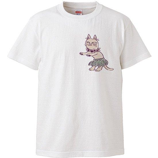 レディースTシャツ−フラ キャット 白 【2枚までメール便可】