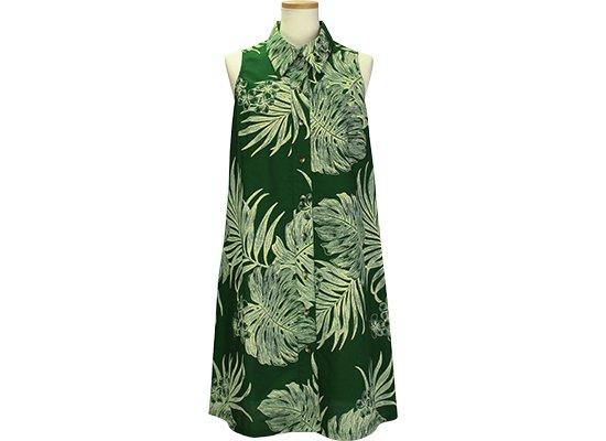 緑のノースリーブワンピース 襟付きタイプ 9号 モンステラ・ヤシ総柄 1990GN 既製品