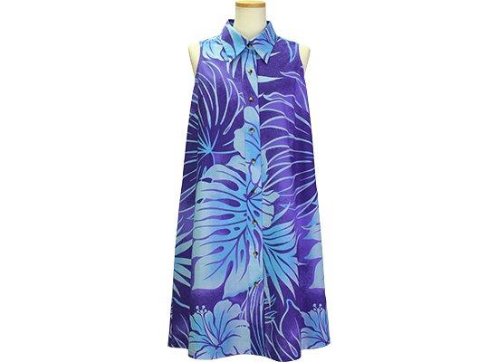 紫のノースリーブワンピース 襟付きタイプ 9号 水色のハイビスカス・モンステラ・ヤシ柄 41031-2533PPAQ 既製品