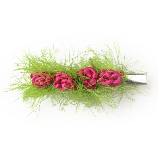 ピンクのロゼットフラワー ヤーン ヘアクリップ Mサイズ fsac-clip-roseM-pink